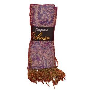 Jacquard Pashmina Scarf NWT Purple Blue Pink